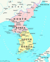 North Korea and South Korea political map with capitals Pyongyan